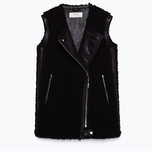 Zara Basic Faux Leather Vest with Shearling